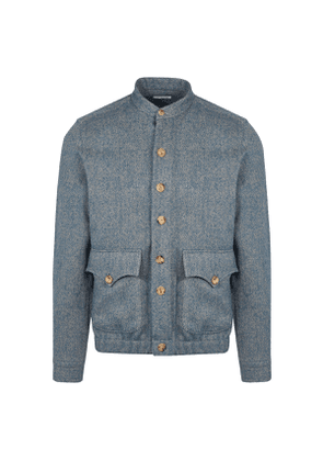 Light Blue and Grey Wool Bomber Jacket