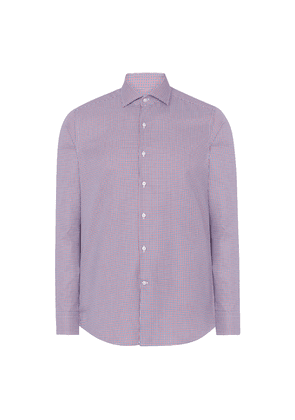 Blue and Red Houndstooth Classic Cotton Check Shirt