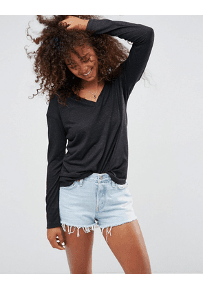 ASOS V-Neck Long Sleeve T-Shirt In Linen Mix Fabric