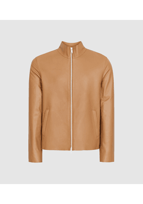 Reiss Aquila - Leather Funnel Neck Jacket in Butterscotch, Mens, Size XS