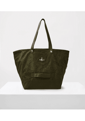 World Map Utility Shopper Bag Green