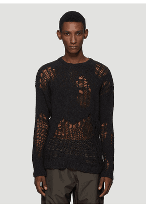 Our Legacy Distressed-Knit Sweater in Black size EU - 46