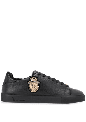 Billionaire fur trim sneakers - Black