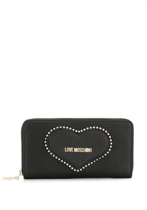 Love Moschino heart embroidered wallet - Black