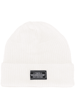Neighborhood cable knit beanie hat - White