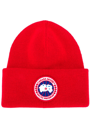 Canada Goose logo patch beanie - Red