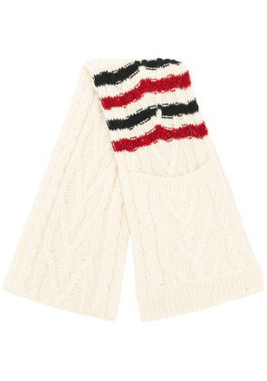 Thom Browne 4-bar Aran Cable Scarf - White