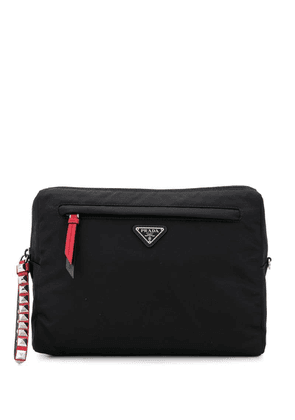 Prada logo patch cross-body bag - Black