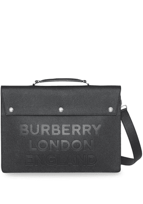 Burberry Triple Stud Logo Embossed Leather Document Case - Black