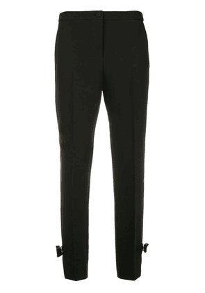 Blumarine tapered bow detail cropped trousers - Blue
