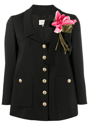 Gucci floral detail fitted jacket - Black