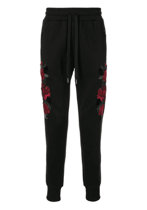 Dolce & Gabbana embroidered roses track pants - Black