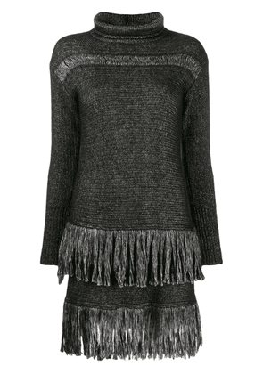 Blumarine fringed sweater dress - Black