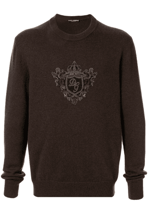 Dolce & Gabbana embroidered crest sweater - Brown