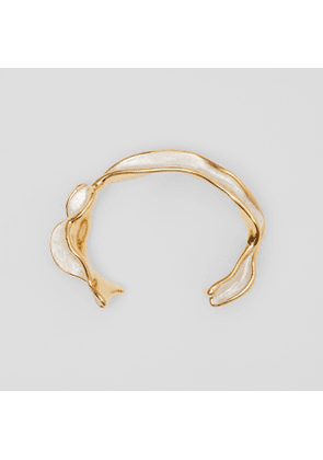 Burberry Enamel and Gold-plated Sculpted Cuff, Yellow