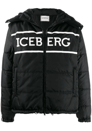 Iceberg logo-print quilted puffer jacket - Black