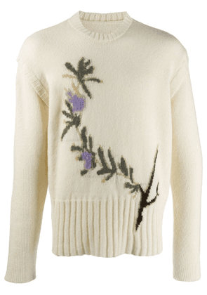 Jacquemus intarsia knit floral jumper - White