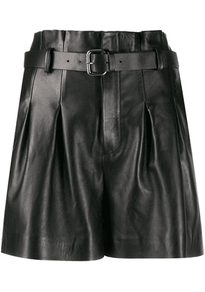 Red Valentino belted leather shorts - Black