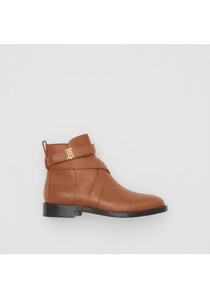 Burberry Monogram Motif Leather Ankle Boots, Size: 35, Brown