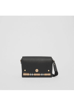 Burberry Leather and Vintage Check Note Crossbody Bag, Black