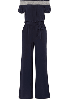 Tory Burch - Misty Off-the-shoulder Shirred Silk Jumpsuit - Midnight blue