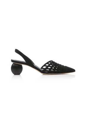 Cult Gaia Keri Woven Leather Slingback Pumps