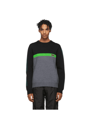 Kenzo Black and Green Colorblock Jumper