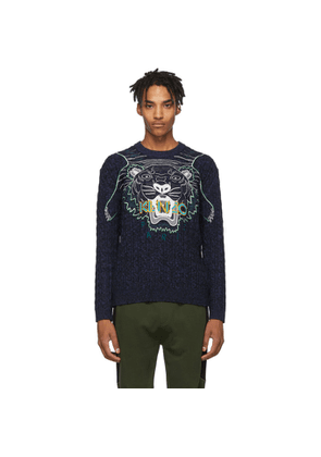 Kenzo Navy Embroidery Claw Tiger Sweater