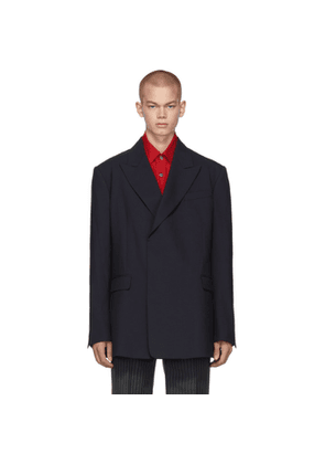 Raf Simons Navy Fitted Double Breasted Blazer