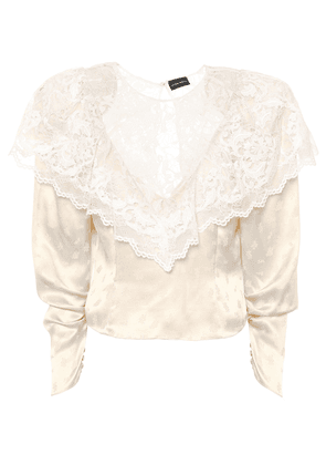 Alkmaar lace-trimmed silk blouse