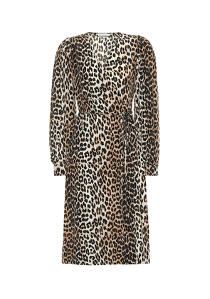 Leopard-printed silk-blend dress