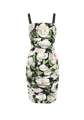 Floral stretch silk dress