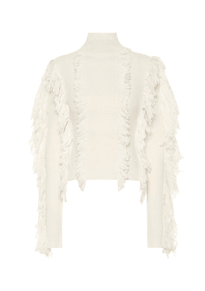 Fringed wool-blend sweater