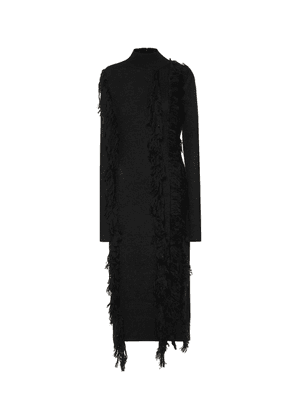 Fringed wool-blend dress