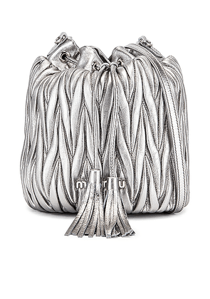Miu Miu Quilted Bucket Bag in Cromo - Metallic. Size all.