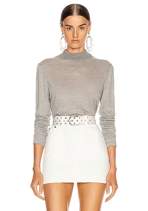 Helmut Lang Mockneck Sweater in Heather Grey - Gray. Size L (also in M,S,XS).