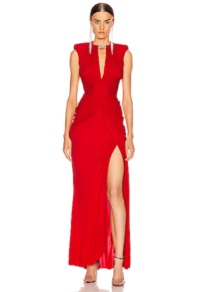 Alexander McQueen Sleeveless Jersey Dress in Lust Red - Red. Size 38 (also in 40,42).