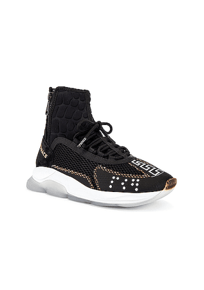 VERSACE Chain Reaction High Top Sneaker in Black - Black. Size 40 (also in 42,43,44,45).