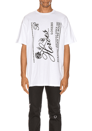 Raf Simons Heroes Tee in White - White. Size L (also in S,M,XL).