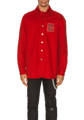 Raf Simons Denim Shirt in Red - Red. Size L (also in S,M).