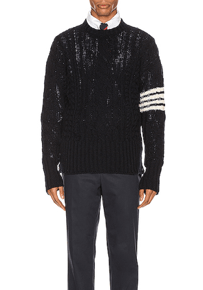 Thom Browne Aran Cable Pullover in Navy - Blue. Size 0 (also in 1,2,3,4,5).