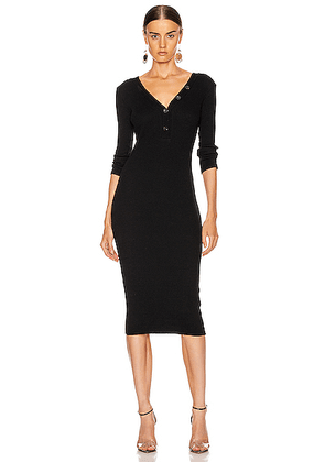 Enza Costa Cashmere Poorboy Rib Long Sleeve Henley Midi Dress in Black - Black. Size L (also in M,S,XS).