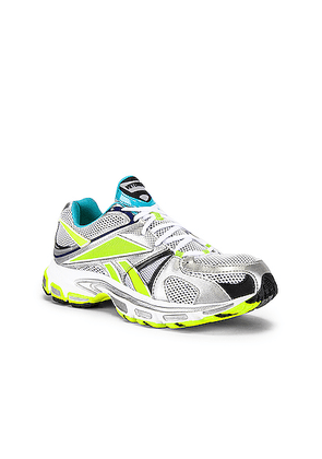 VETEMENTS Spike Runner 200 in White & Silver & Lime - Blue,Metallic,White. Size 42 (also in 43,44).