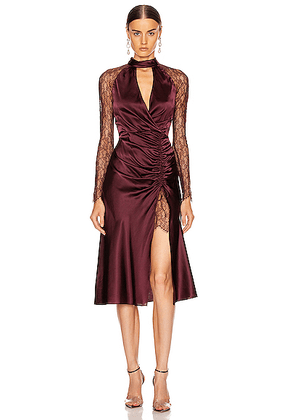 JONATHAN SIMKHAI Lace Ruched Front Keyhole Dress in Sienna & Antique Rose - Red. Size 0 (also in 2,4,6).