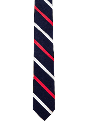 Thom Browne Classic Banker Stripe Necktie in Red & White & Blue - Blue,Stripes,Red. Size all.