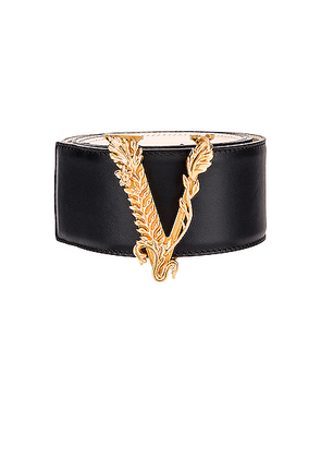 VERSACE Leather Tribute Belt in Black & Gold - Black. Size 60 (also in 65,70,75,80).