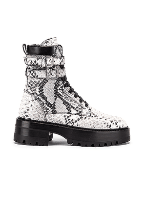 Amiri Embossed Python Combat Boot in Natural - Animal Print,White. Size 37 (also in 38,39,40).