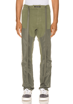 Fear of God Nylon Canvas Double Front Work Pant in Army Green - Green. Size L (also in XL,XS).