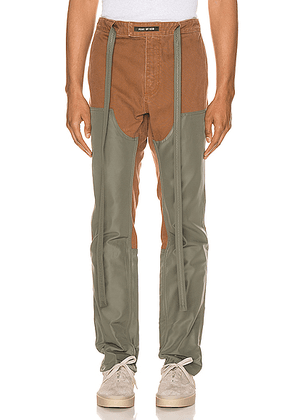 Fear of God Nylon Canvas Double Front Work Pant in Brick & Army Green - Green,Brown. Size L (also in XL,XS).