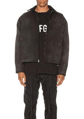 Fear of God Canvas Work Jacket in Black & Vintage Black - Black. Size L (also in XS,S,XL).